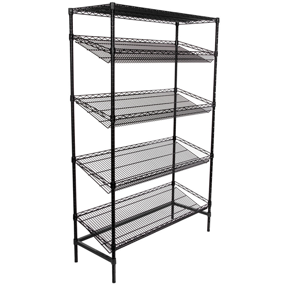 Regency Black Epoxy 5-Shelf Angled Stationary Merchandising Rack - 18 inch x 48 inch x 74 inch