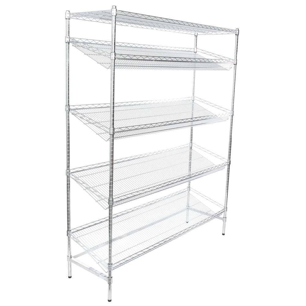 Regency Chrome 5-Shelf Angled Stationary Merchandising Rack - 18 inch x 60 inch x 74 inch
