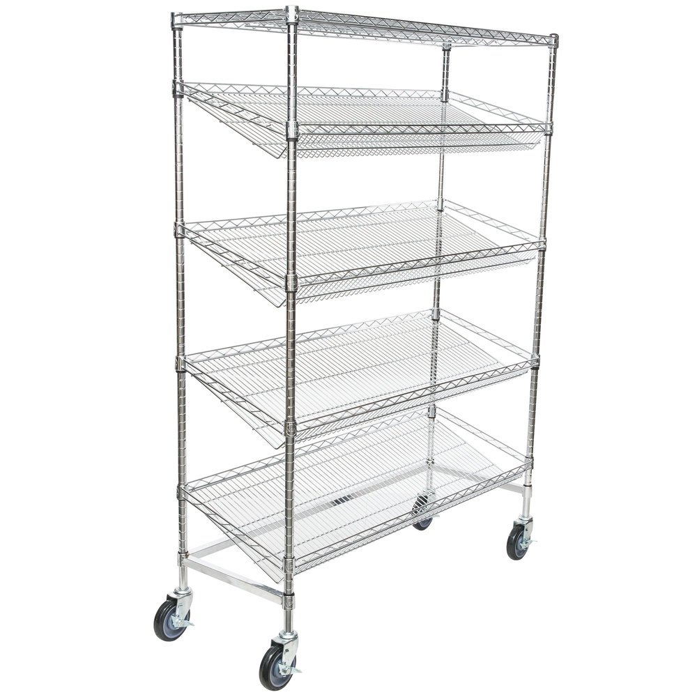Regency Chrome 5-Shelf Angled Mobile Merchandising Rack - 18 inch x 48 inch x 69 inch