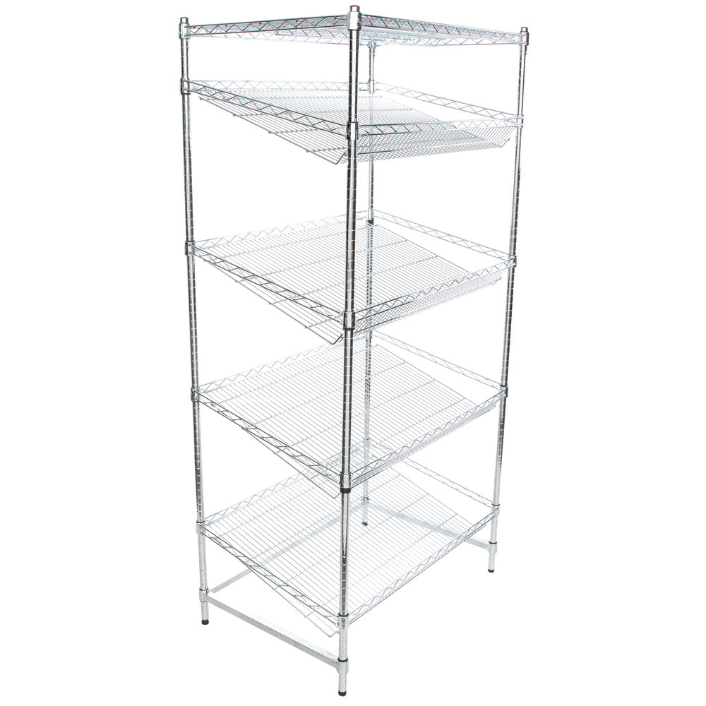 Regency Chrome 5-Shelf Angled Stationary Merchandising Rack - 24 inch x 36 inch x 74 inch