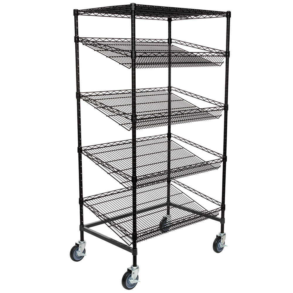 Regency Black Epoxy 5-Shelf Angled Mobile Merchandising Rack - 24 inch x 36 inch x 69 inch