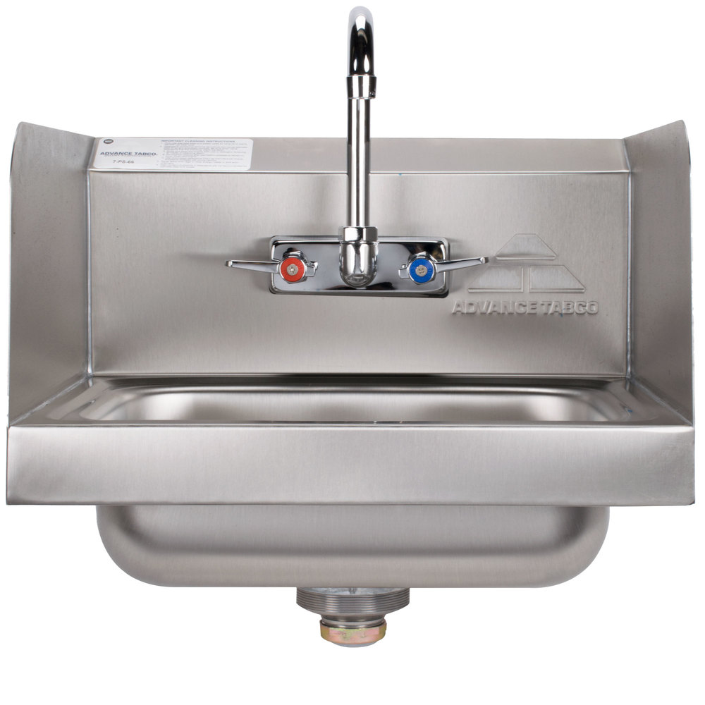 Advance Tabco 7-PS-66 Hand Sink with Splash Mounted Gooseneck Faucet and Side Splash Guards - 17 1/4""