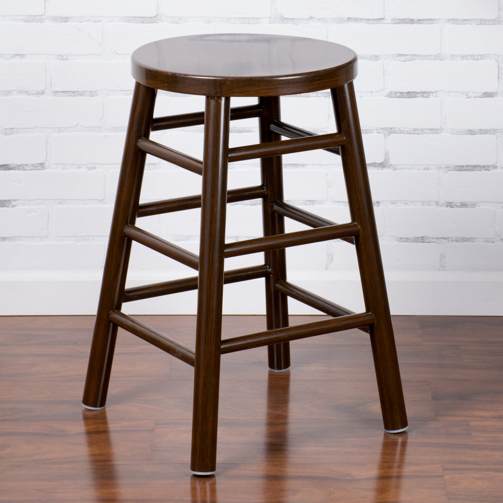 "Lancaster Table & Seating Spartan Series 24"" Metal Woodgrain Counter Height Stool with Dark Finish"