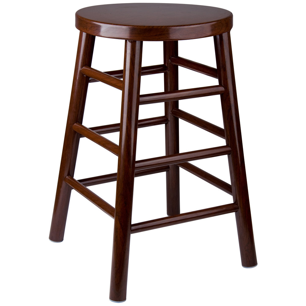"Lancaster Table & Seating 24"" Metal Woodgrain Counter Height Stool with Dark Finish"