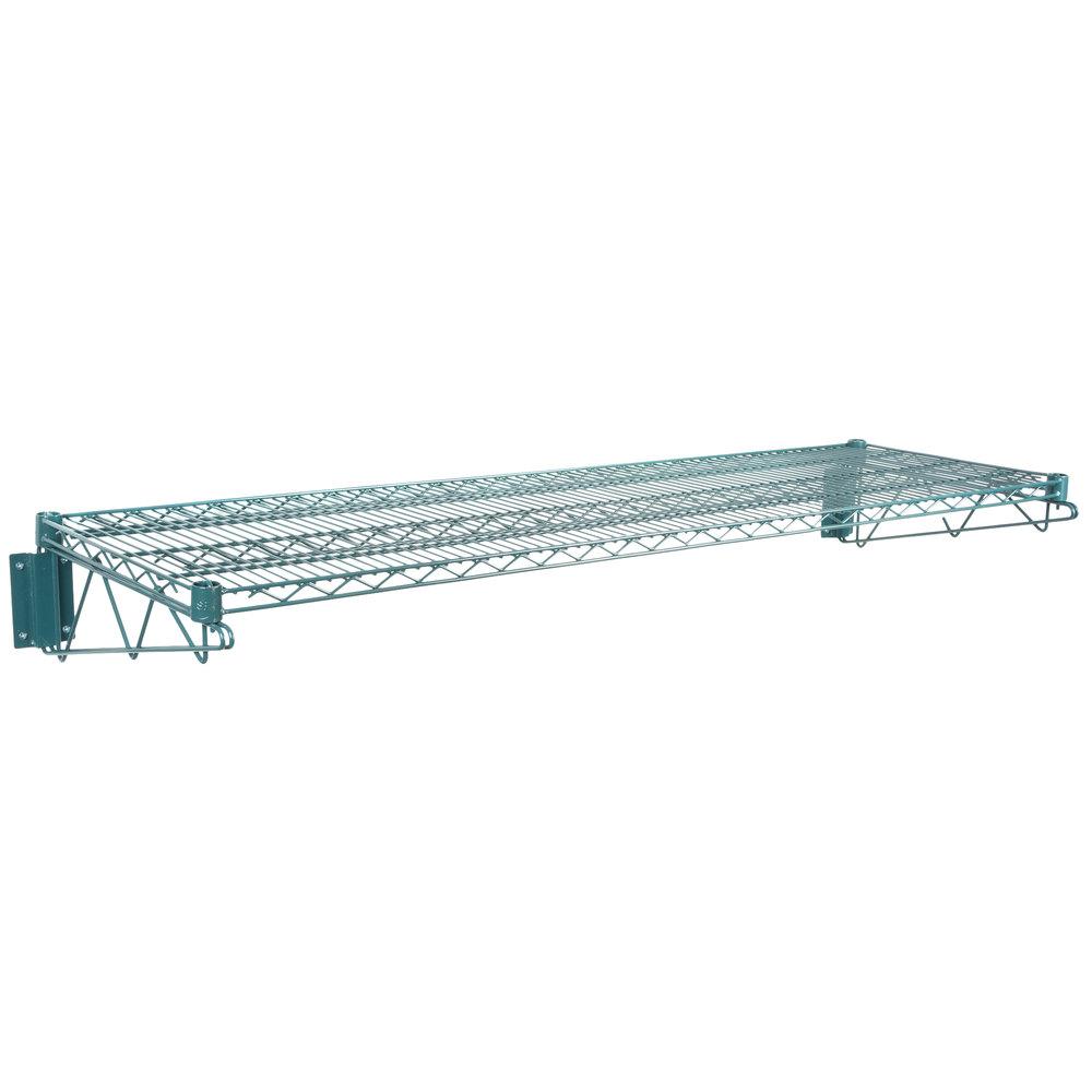Regency 18 inch x 60 inch Green Epoxy Wire Wall Mount Shelf