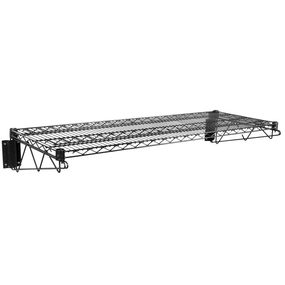 Regency 18 inch x 48 inch Black Epoxy Wire Wall Mount Shelf