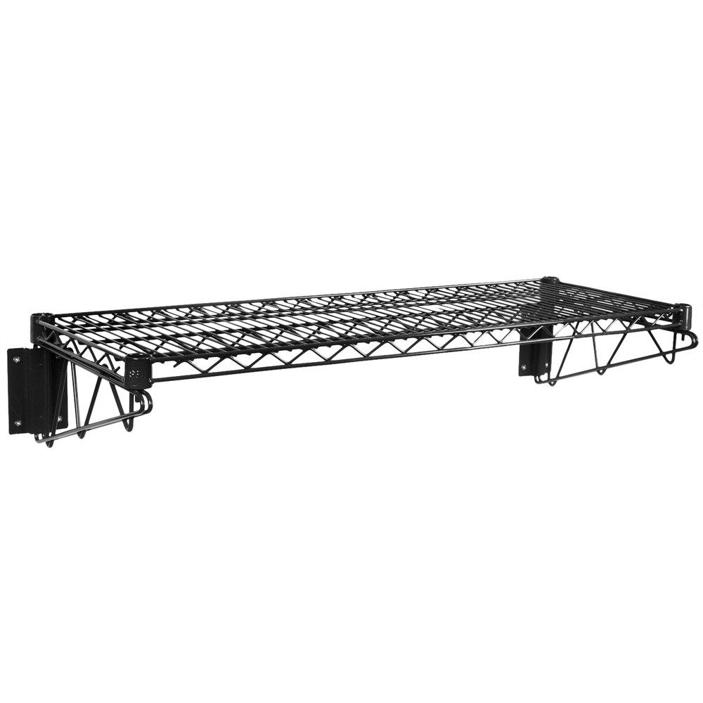 Regency 14 inch x 36 inch Black Epoxy Wire Wall Mount Shelf