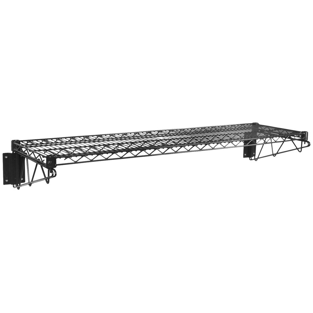 Regency 14 inch x 48 inch Black Epoxy Wire Wall Mount Shelf