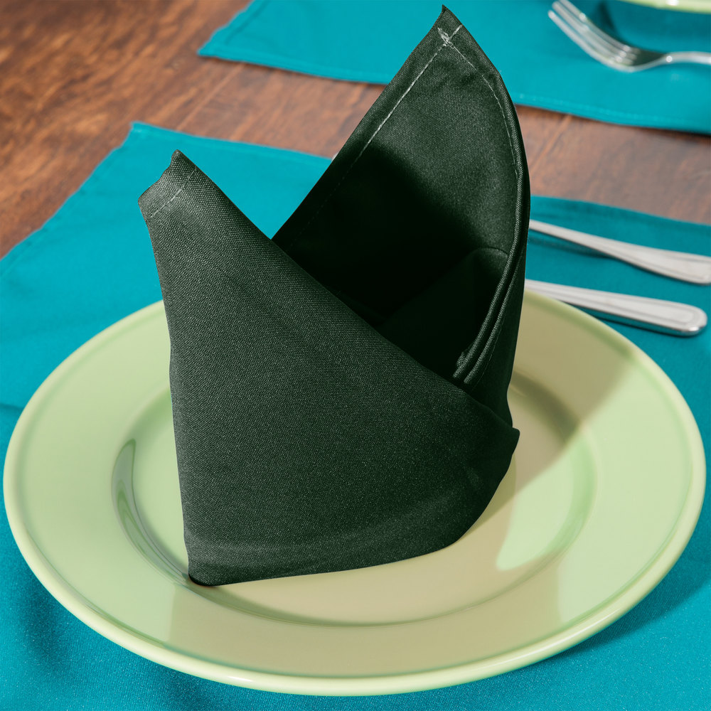 "20"" x 20"" Forest Green 100% Polyester Hemmed Cloth Napkin - 12/Pack"