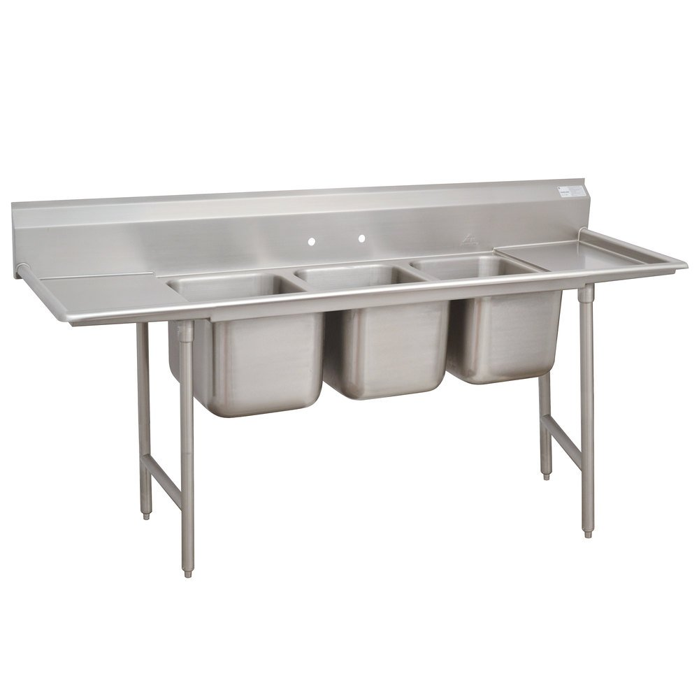 3 Compartment Sink : ... Three Compartment Stainless Steel Sink with Two Drainboards - 103