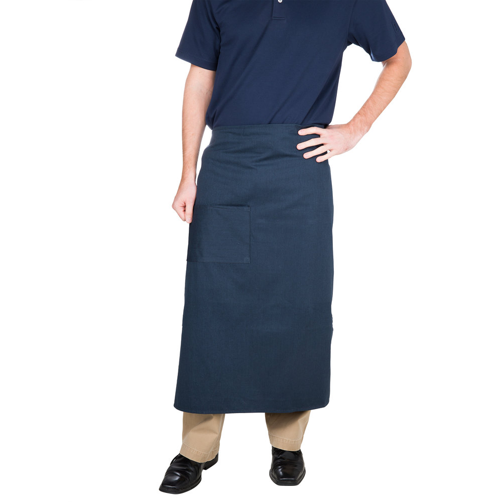 "Choice Navy Blue Bistro Apron with Pocket - 34""L x 28""W"