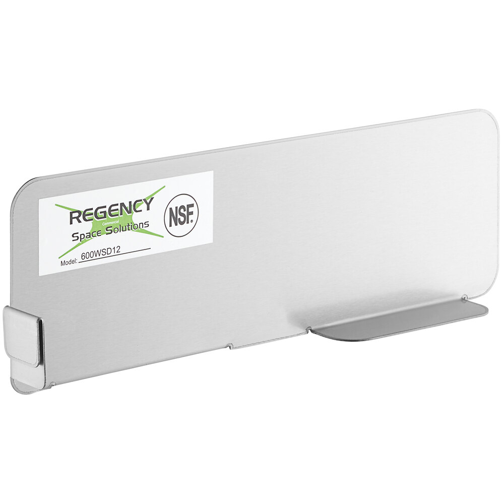 Regency Stainless Steel Wall Shelf Divider - 12 inch x 4 inch