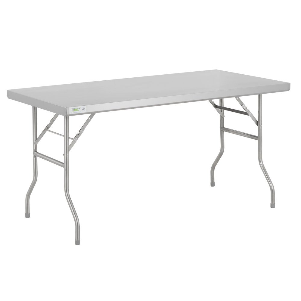 Regency 30 inch x 60 inch 18-Gauge Stainless Steel Open Base Folding Work Table