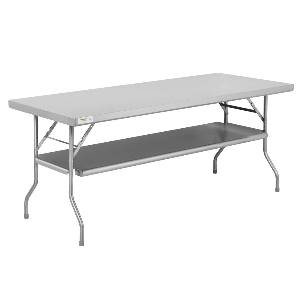 Regency 30 inch x 72 inch 18-Gauge Stainless Steel Folding Work Table with Removable Undershelf