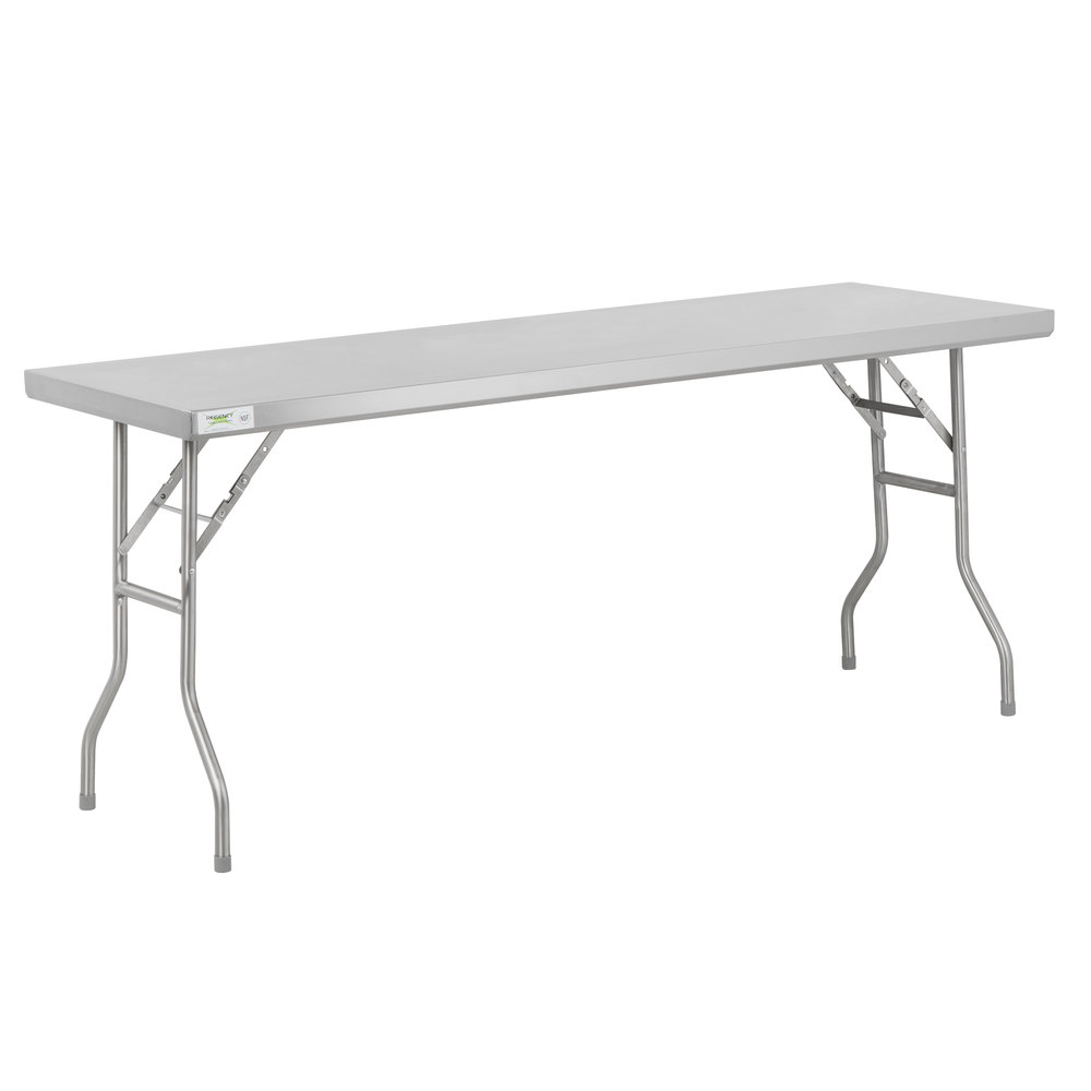 Regency 24 inch x 72 inch 18-Gauge Stainless Steel Open Base Folding Work Table