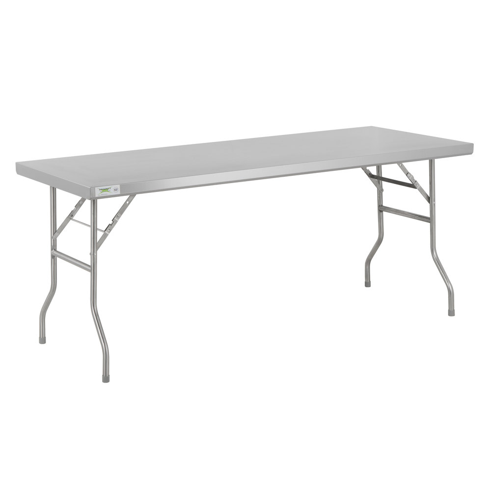 Regency 30 inch x 72 inch 18-Gauge Stainless Steel Open Base Folding Work Table