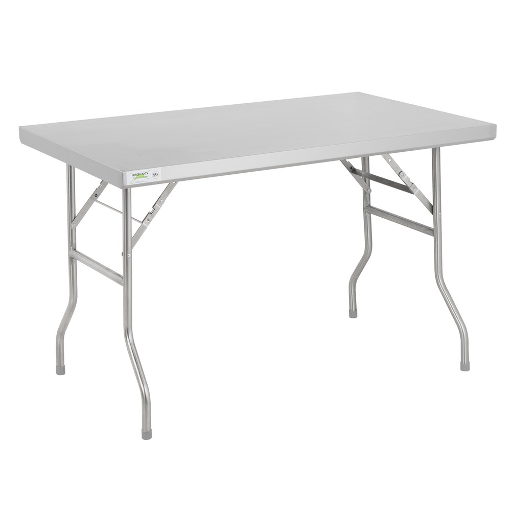 Regency 30 inch x 48 inch 18-Gauge Stainless Steel Open Base Folding Work Table
