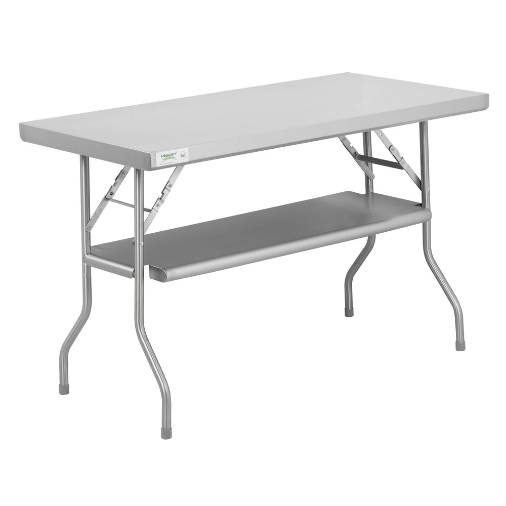 Regency 24 inch x 48 inch 18-Gauge Stainless Steel Folding Work Table with Removable Undershelf