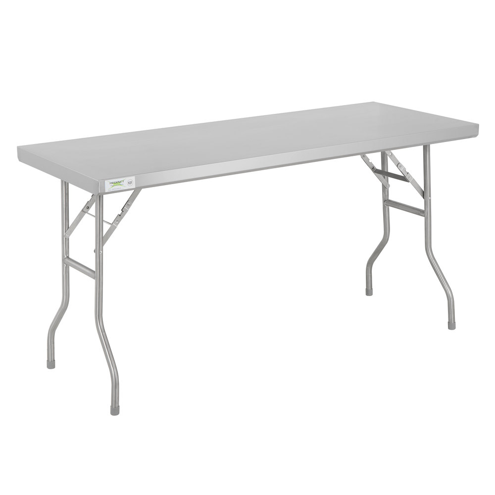 Regency 24 inch x 60 inch 18-Gauge Stainless Steel Open Base Folding Work Table