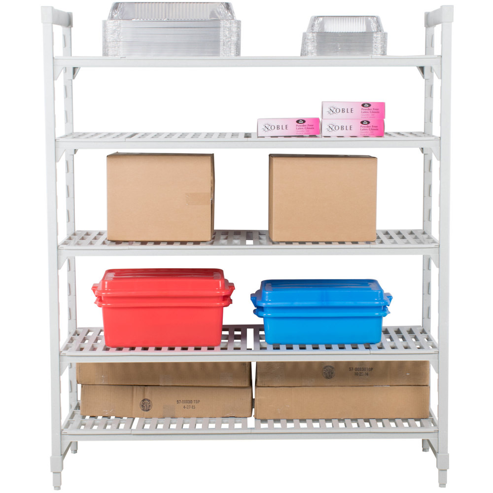 "Cambro Camshelving Premium CPU184272V5480 Shelving Unit with 5 Vented Shelves 18"" x 42"" x 72"""