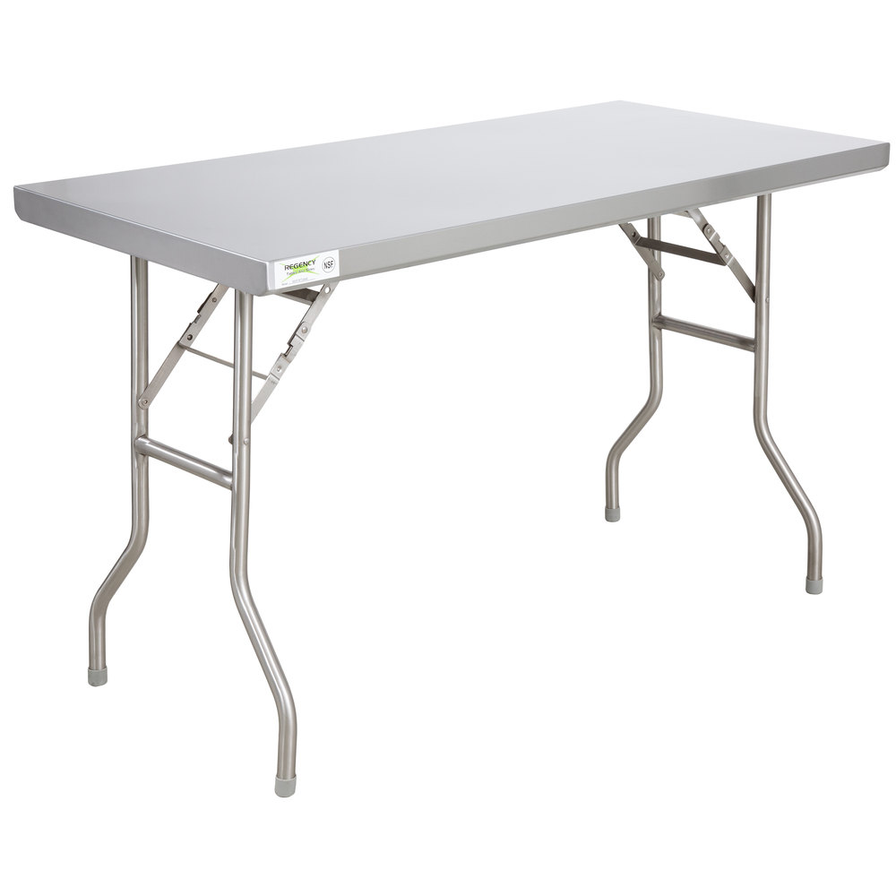 Regency 24 inch x 48 inch 18-Gauge Stainless Steel Open Base Folding Work Table