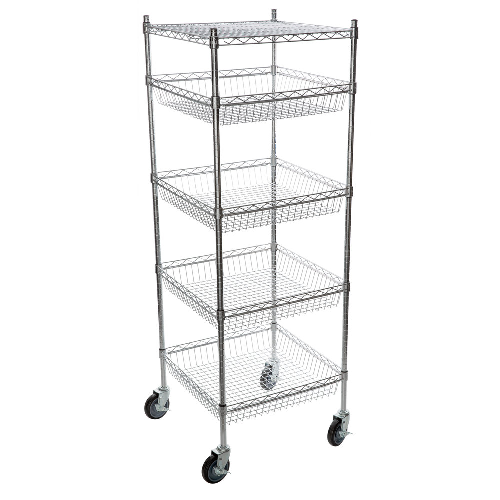 Regency NSF Chrome 4 Basket and 1 Shelf Kit - 24 inch x 24 inch x 69 inch