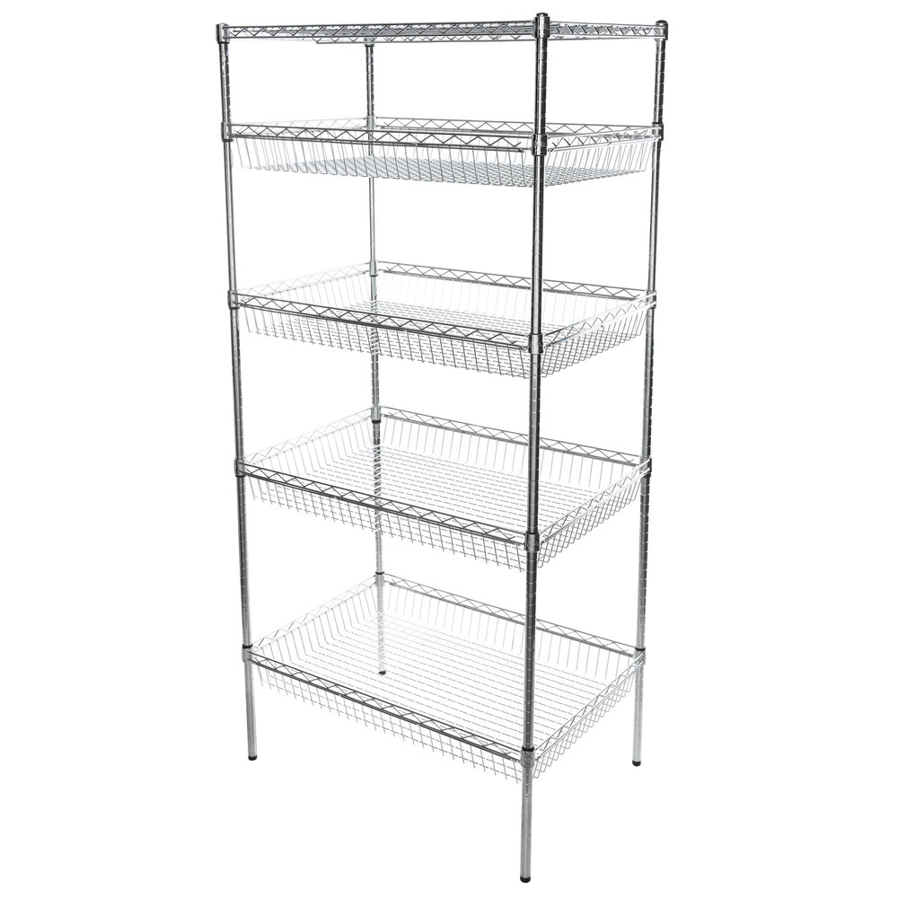 Regency NSF Chrome 4 Basket and 1 Shelf Kit - 24 inch x 36 inch x 74 inch