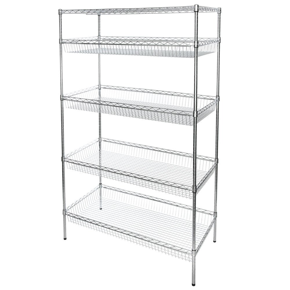 Regency NSF Chrome 4 Basket and 1 Shelf Kit - 24 inch x 48 inch x 74 inch