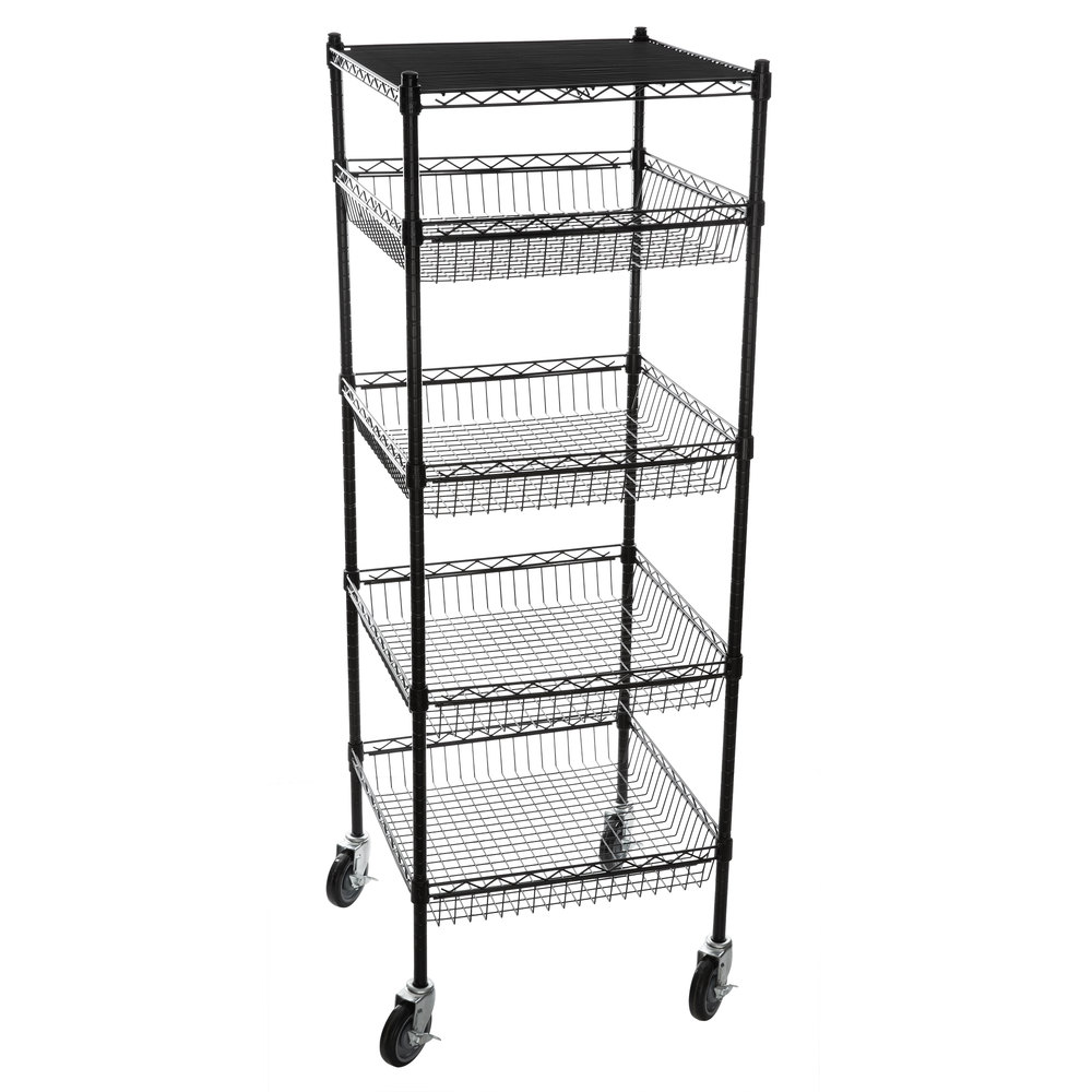 Regency NSF Black Epoxy 4 Basket and 1 Shelf Kit - 24 inch x 24 inch x 69 inch