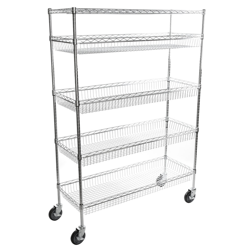 Regency NSF Chrome 4 Basket and 1 Shelf Kit - 18 inch x 48 inch x 69 inch