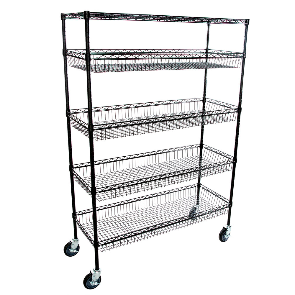 Regency NSF Black Epoxy 4 Basket and 1 Shelf Kit - 18 inch x 48 inch x 69 inch