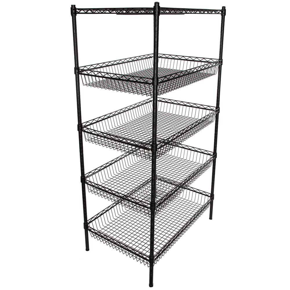 Regency NSF Black Epoxy 4 Basket and 1 Shelf Kit - 24 inch x 36 inch x 74 inch