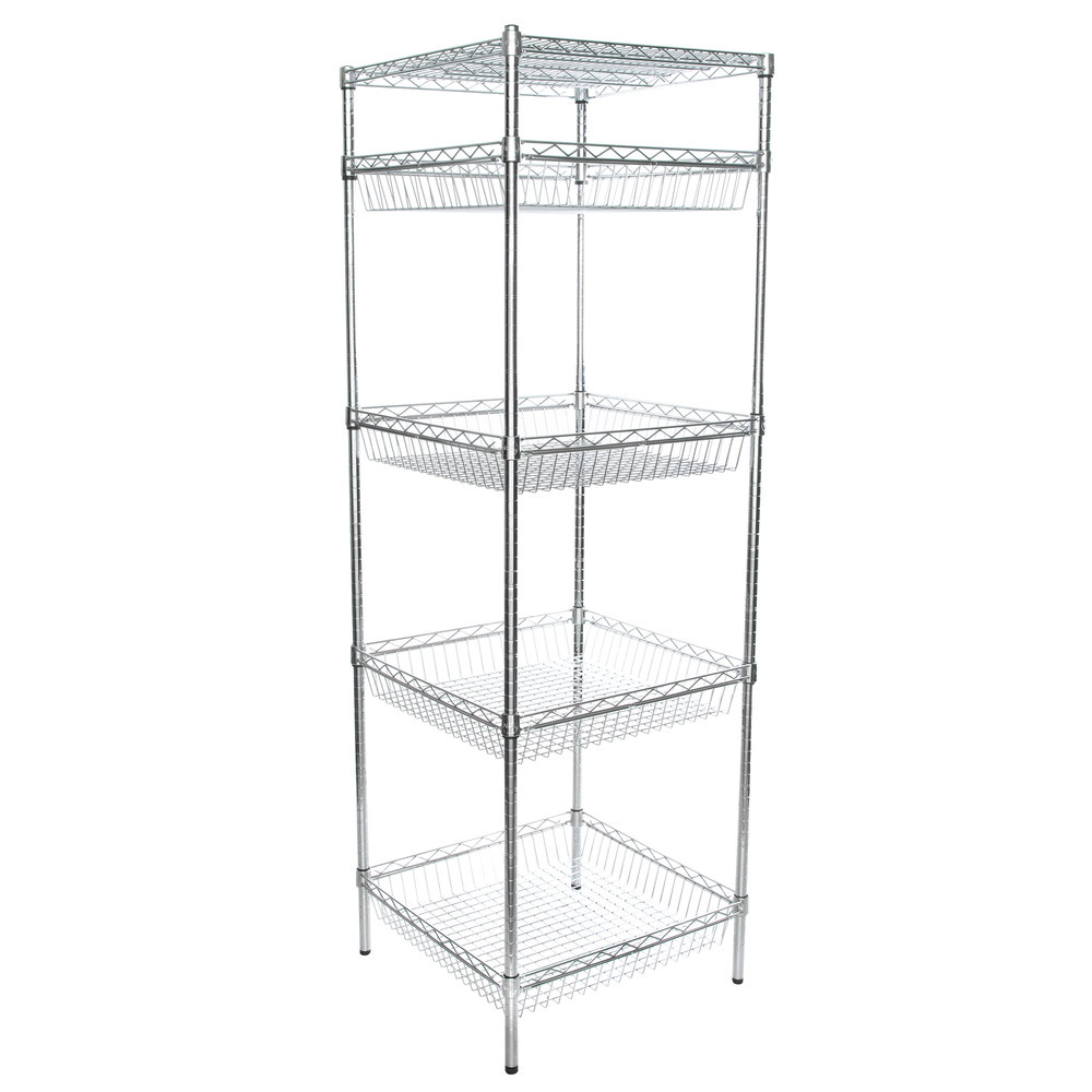 Regency NSF Chrome 4 Basket and 1 Shelf Kit - 24 inch x 24 inch x 74 inch