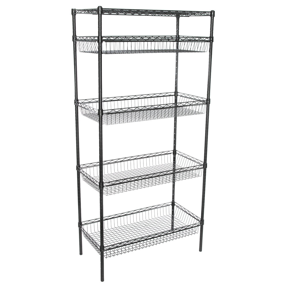 Regency NSF Black Epoxy 4 Basket and 1 Shelf Kit - 18 inch x 36 inch x 74 inch
