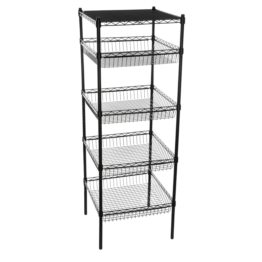 Regency NSF Black Epoxy 4 Basket and 1 Shelf Kit - 24 inch x 24 inch x 74 inch