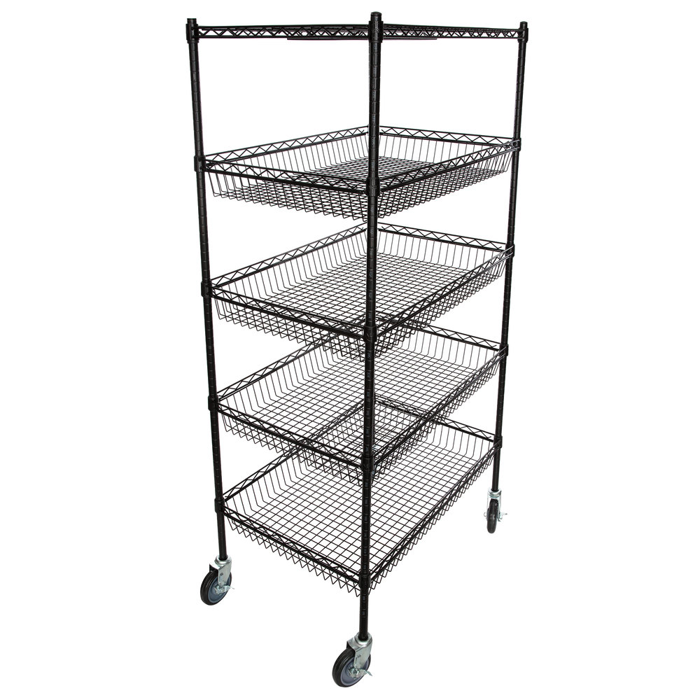 Regency NSF Black Epoxy 4 Basket and 1 Shelf Kit - 24 inch x 36 inch x 69 inch