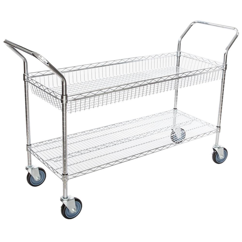 Regency Chrome One Shelf and One Basket Utility Cart - 18 inch x 48 inch x 36 inch