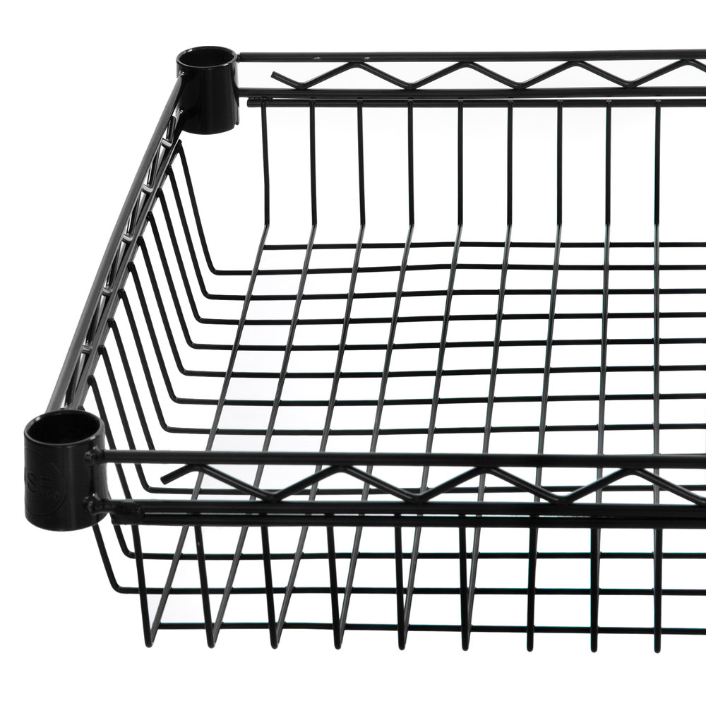 Regency 18 inch x 48 inch NSF Black Epoxy Shelf Basket