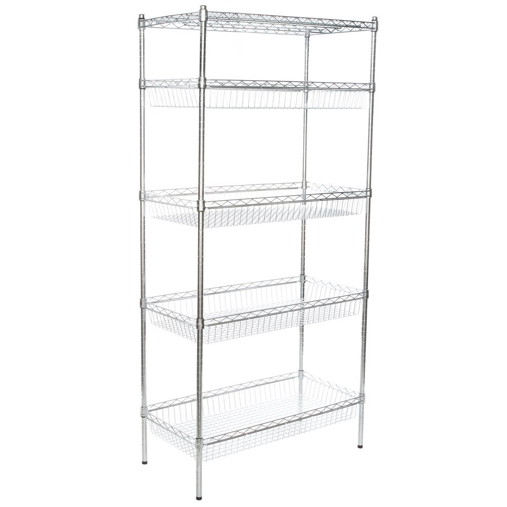 Regency NSF Chrome 4 Basket and 1 Wire Shelf Kit - 18 inch x 36 inch x 74 inch
