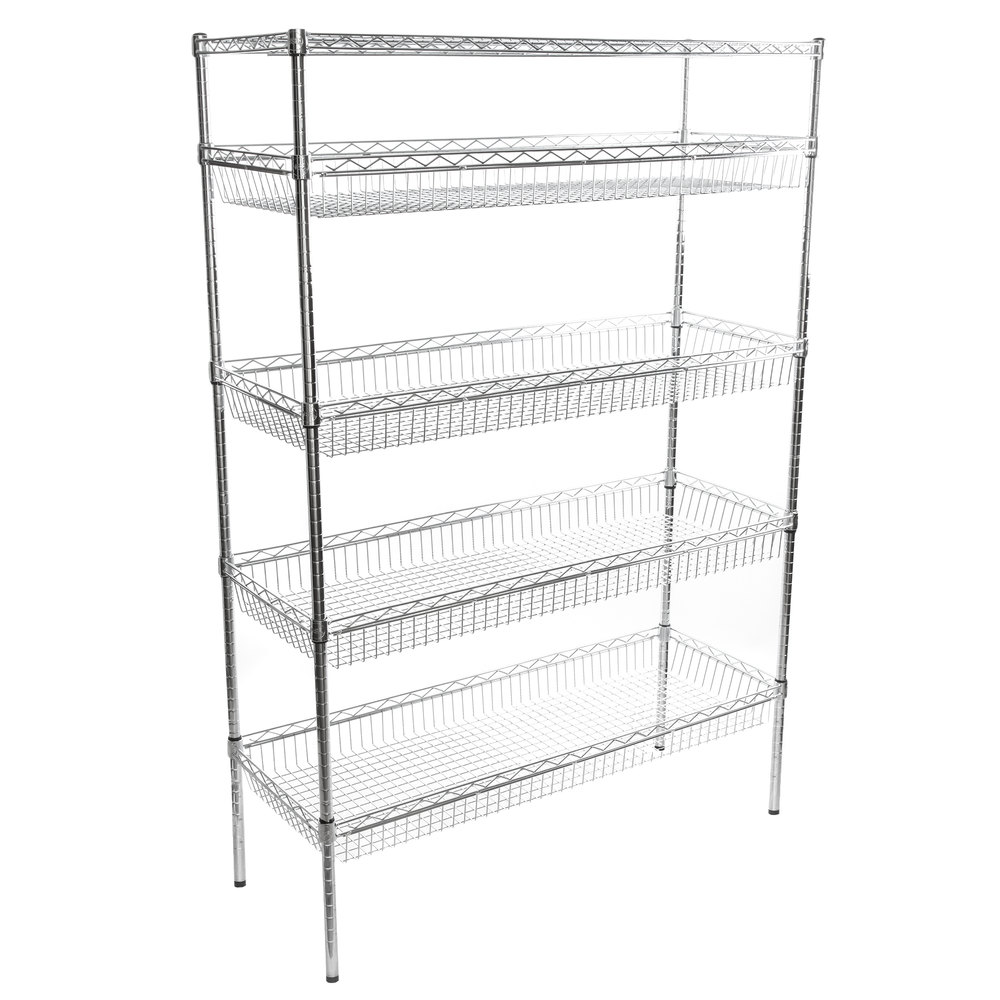 Regency NSF Chrome 4 Basket and 1 Shelf Kit - 18 inch x 48 inch x 74 inch