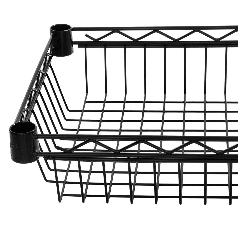 Regency 14 inch x 24 inch NSF Black Epoxy Shelf Basket