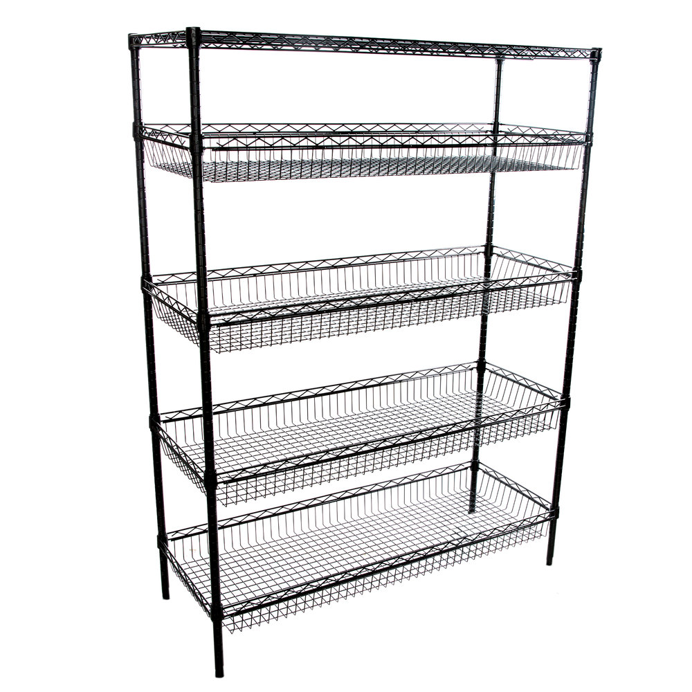 Regency NSF Black Epoxy 4 Basket and 1 Shelf Kit - 18 inch x 48 inch x 74 inch