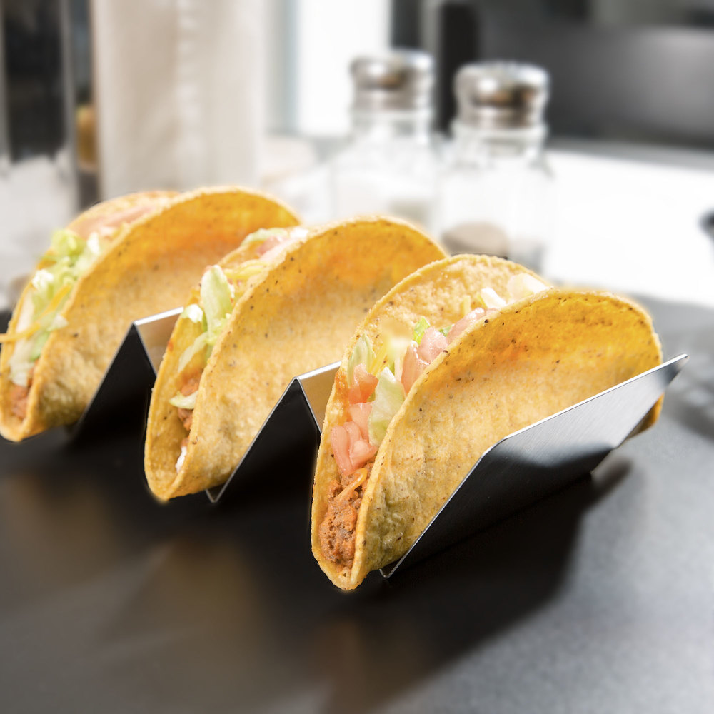 "American Metalcraft TSH3 Stainless Steel Taco Holder with 2 or 3 Compartments - 4"" x 8"" x 2"""