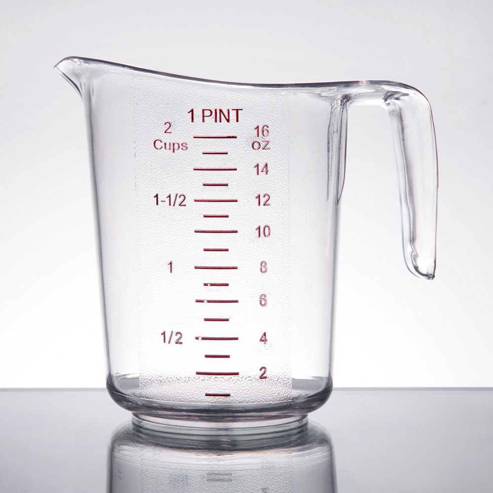 Choice 1 Pint  2 Cups  Clear Plastic Measuring Cup With