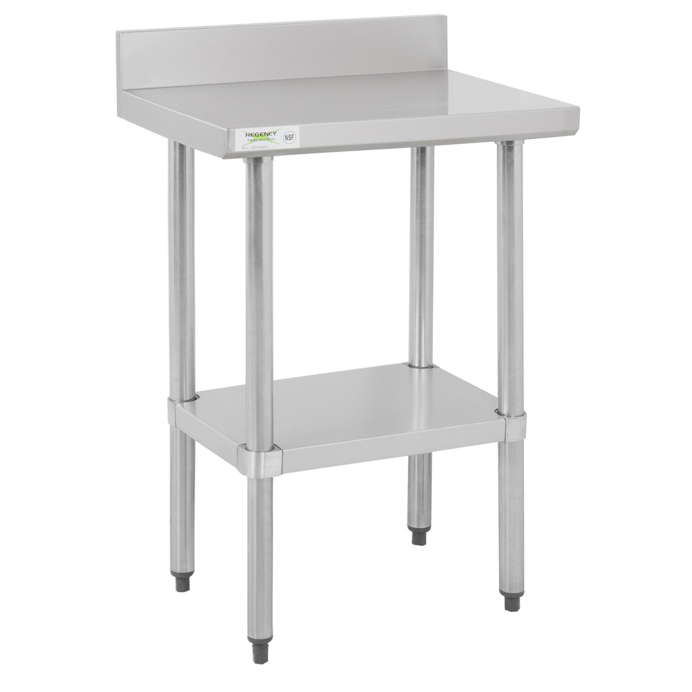 Regency 18 inch x 24 inch 18-Gauge 304 Stainless Steel Commercial Work Table with 4 inch Backsplash and Galvanized Undershelf