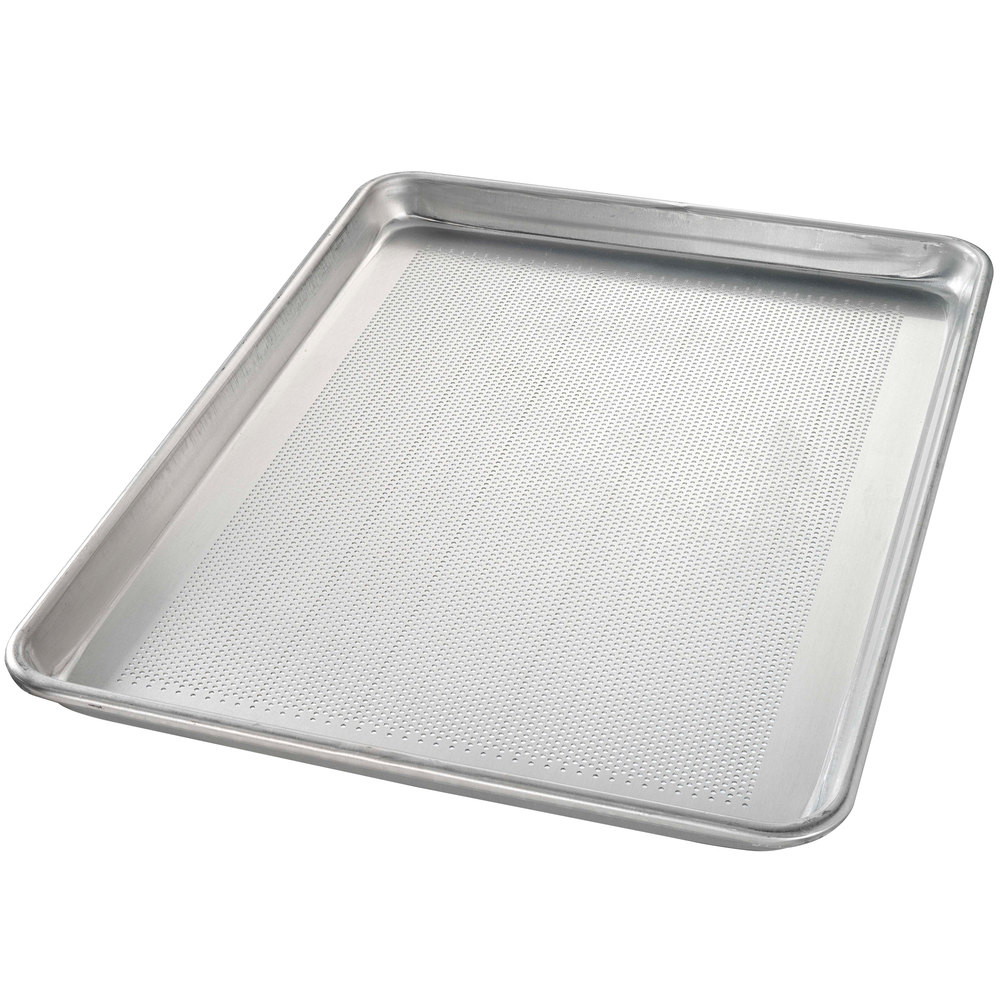 "Chicago Metallic 40851 Perforated Half Size 18 Gauge Glazed Aluminum Sheet Pan - Wire in Rim, 13"" x 18"""