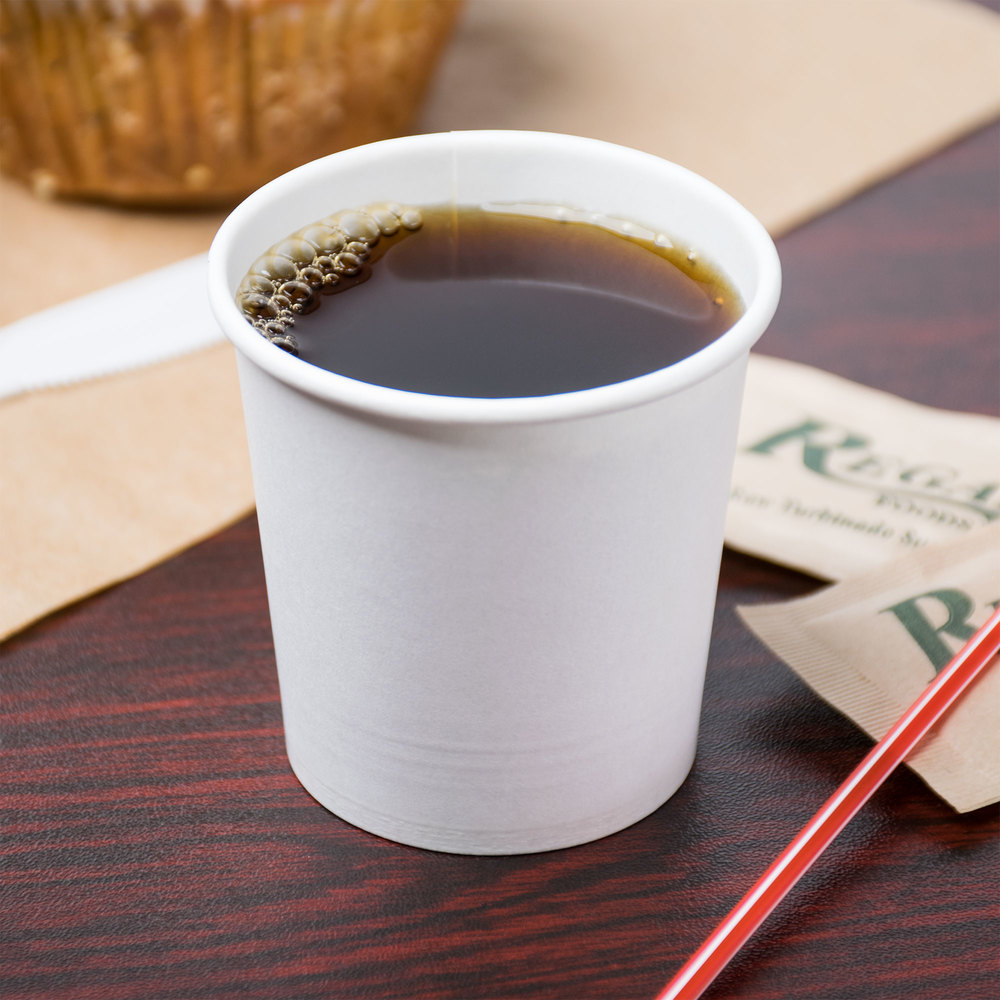 Choice 4 oz. White Poly Paper Hot Cup - 50/Pack