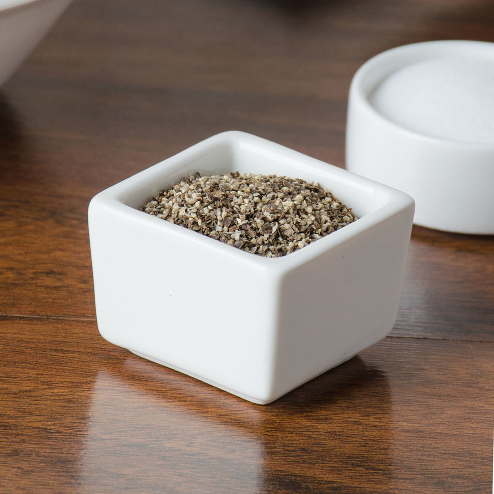 American Metalcraft PSLT15 0.5 oz. White Square Porcelain Salt and Pepper Dish