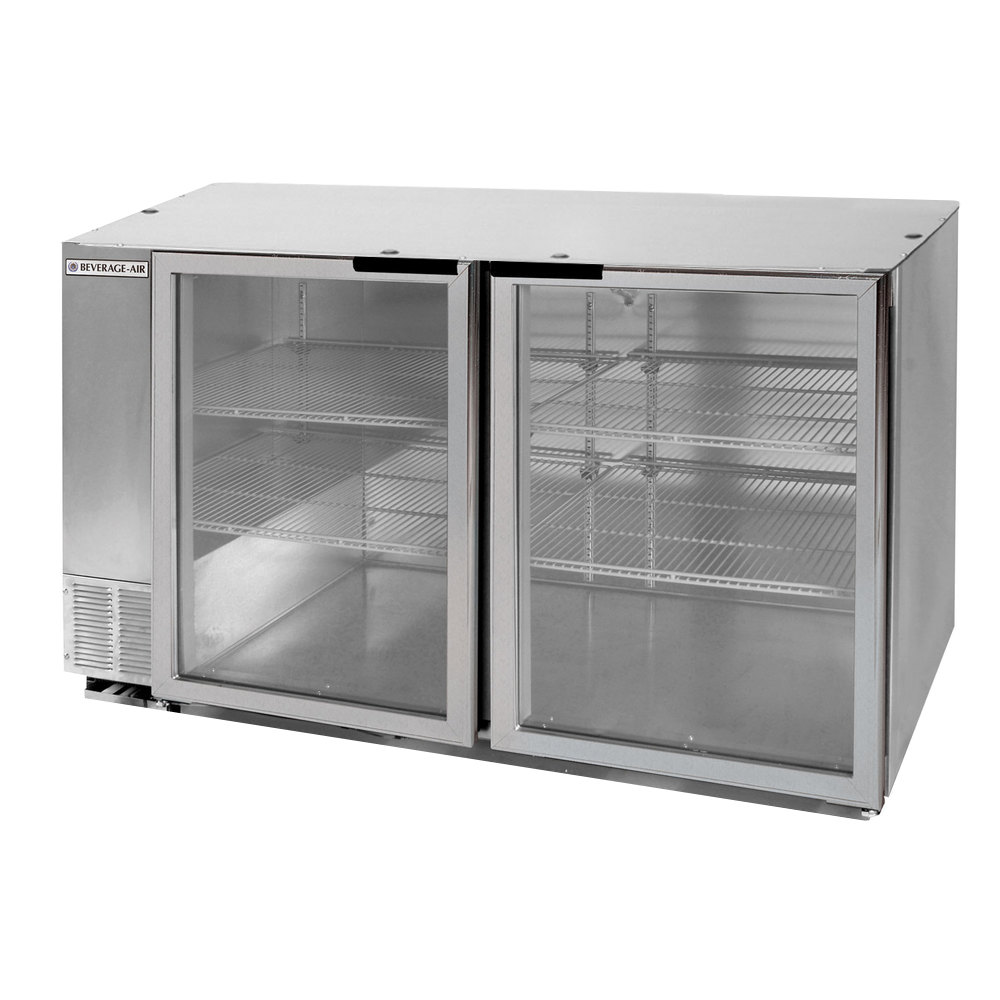 "Beverage Air BB58G-1-S-LED 58"" Back Bar Refrigerator with 2 Glass Doors and Stainless Steel Front - 115V"