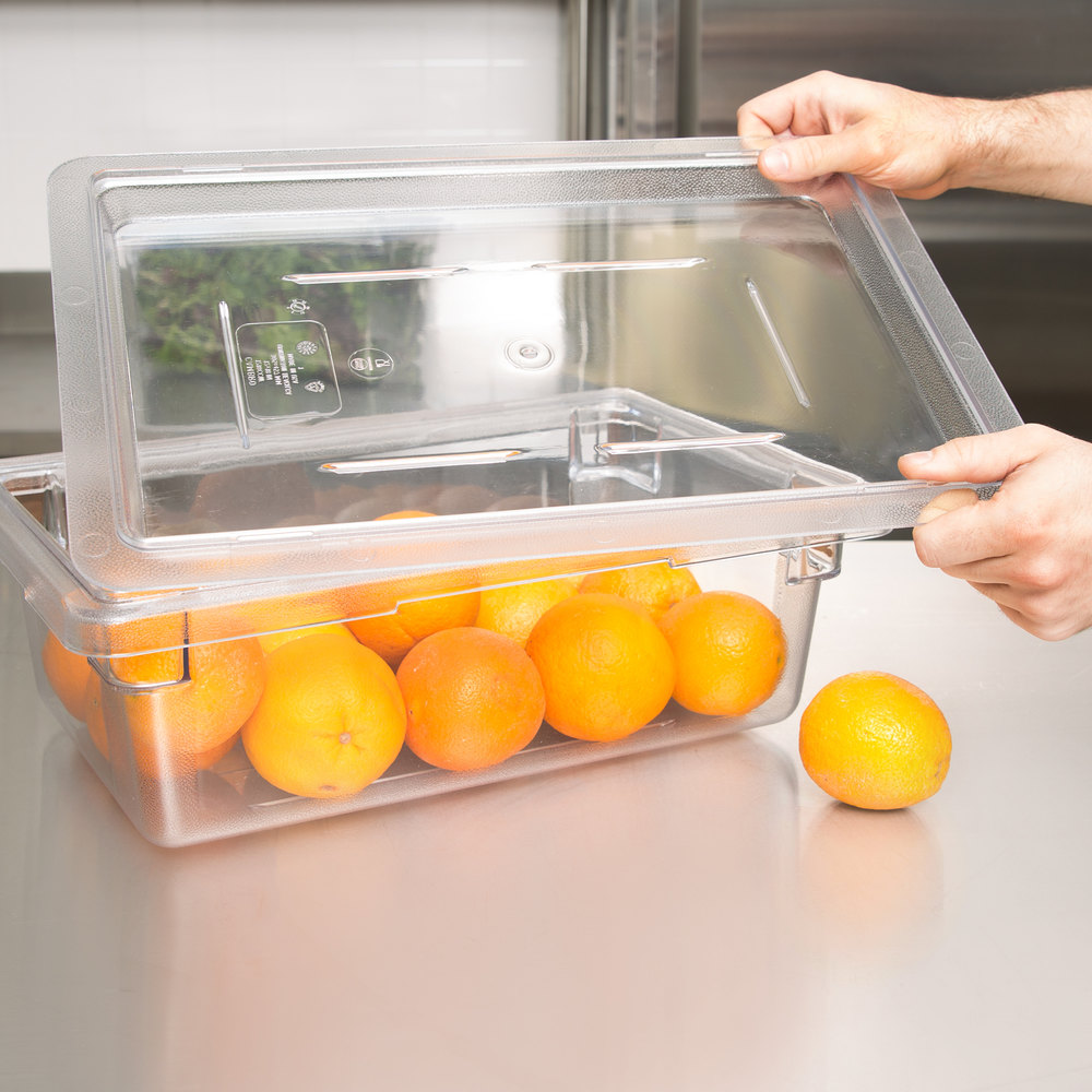 "Cambro 1218CCW135 Camwear 12"" x 18"" Clear Food Storage Box Flat Lid"